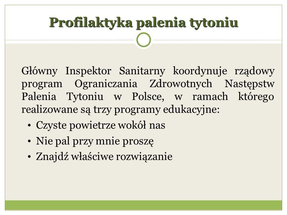 Profilaktyka palenia tytoniu Główny Inspektor Sanitarny koordynuje rządowy program Ograniczania Zdrowotnych Następstw Palenia Tytoniu w Polsce, w ramach którego realizowane są trzy programy edukacyjne: Czyste powietrze wokół nas Nie pal przy mnie proszę Znajdź właściwe rozwiązanie