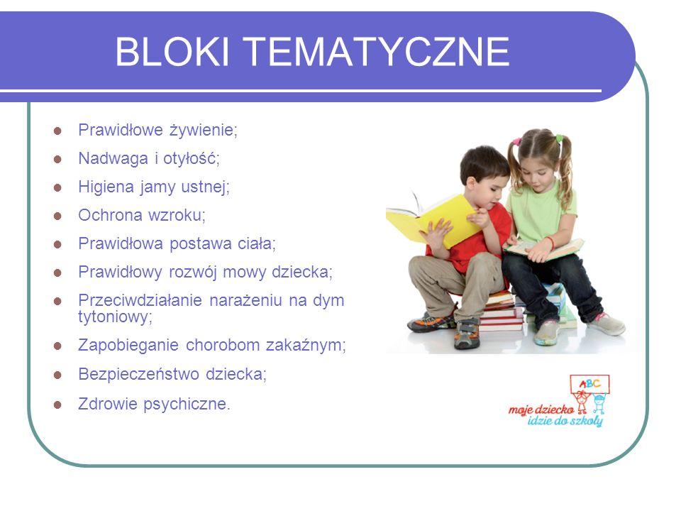 BLOKI TEMATYCZNE Prawidłowe żywienie; Nadwaga i otyłość; Higiena jamy ustnej; Ochrona wzroku; Prawidłowa postawa ciała; Prawidłowy rozwój mowy dziecka