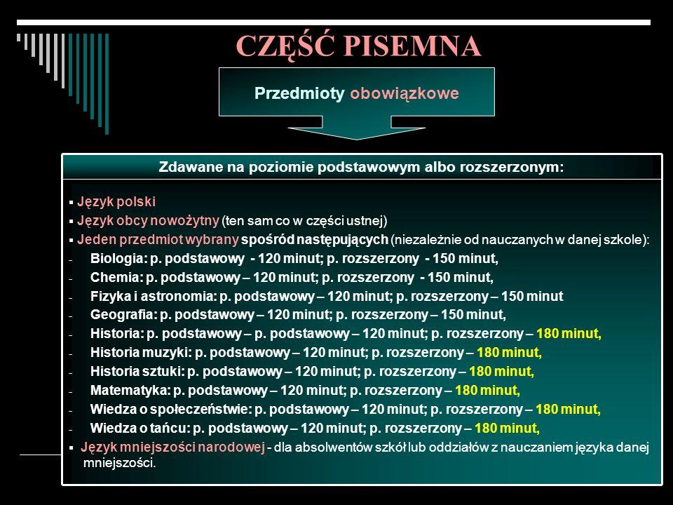 Egzamin maturalny w 2008 roku.14 Język polski Język obcy nowożytny (ten sam co w części ustnej) Jeden przedmiot wybrany spośród następujących (niezależnie od nauczanych w danej szkole): - Biologia: p.