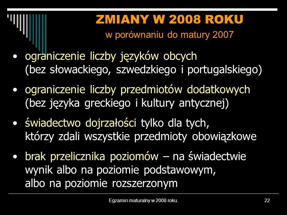 Egzamin maturalny w 2008 roku.22 ZMIANY W 2008 ROKU w porównaniu do matury 2007 ograniczenie liczby języków obcych (bez słowackiego, szwedzkiego i portugalskiego) ograniczenie liczby przedmiotów dodatkowych (bez języka greckiego i kultury antycznej) świadectwo dojrzałości tylko dla tych, którzy zdali wszystkie przedmioty obowiązkowe brak przelicznika poziomów – na świadectwie wynik albo na poziomie podstawowym, albo na poziomie rozszerzonym