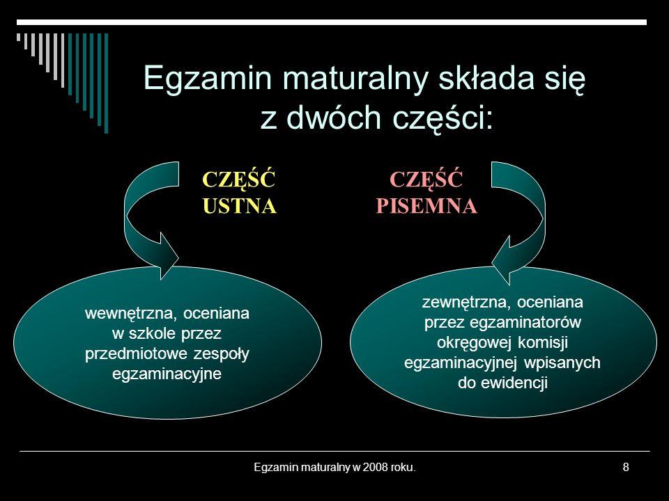 Egzamin maturalny w 2008 roku.9 Język polski – zdawany na jednym, określonym w standardach poziomie.