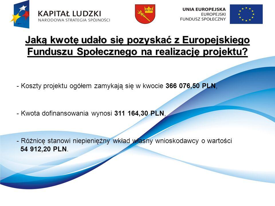 Jaką kwotę udało się pozyskać z Europejskiego Funduszu Społecznego na realizację projektu.