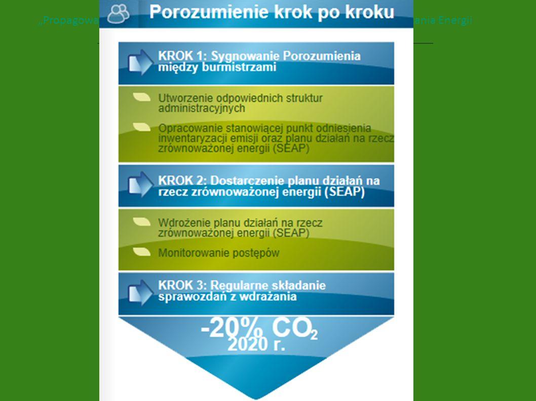 Zobowiązania sygnatariuszy Opracowanie stanowiącej punkt odniesienia inwentaryzacji emisji (w ciągu roku od przystąpienia) oraz planu działań na rzecz zrównoważonej energii (SEAP) Udział regionalnych agencji energetycznych w opracowywaniu planu SEAP - porady z zakresu energii oraz pomoc techniczna Wykorzystanie potencjału kadrowego Zapewnienie finansowania