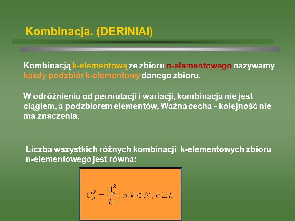 Kombinacja. (DERINIAI) Kombinacją k-elementową ze zbioru n-elementowego nazywamy każdy podzbiór k-elementowy danego zbioru. Liczba wszystkich różnych