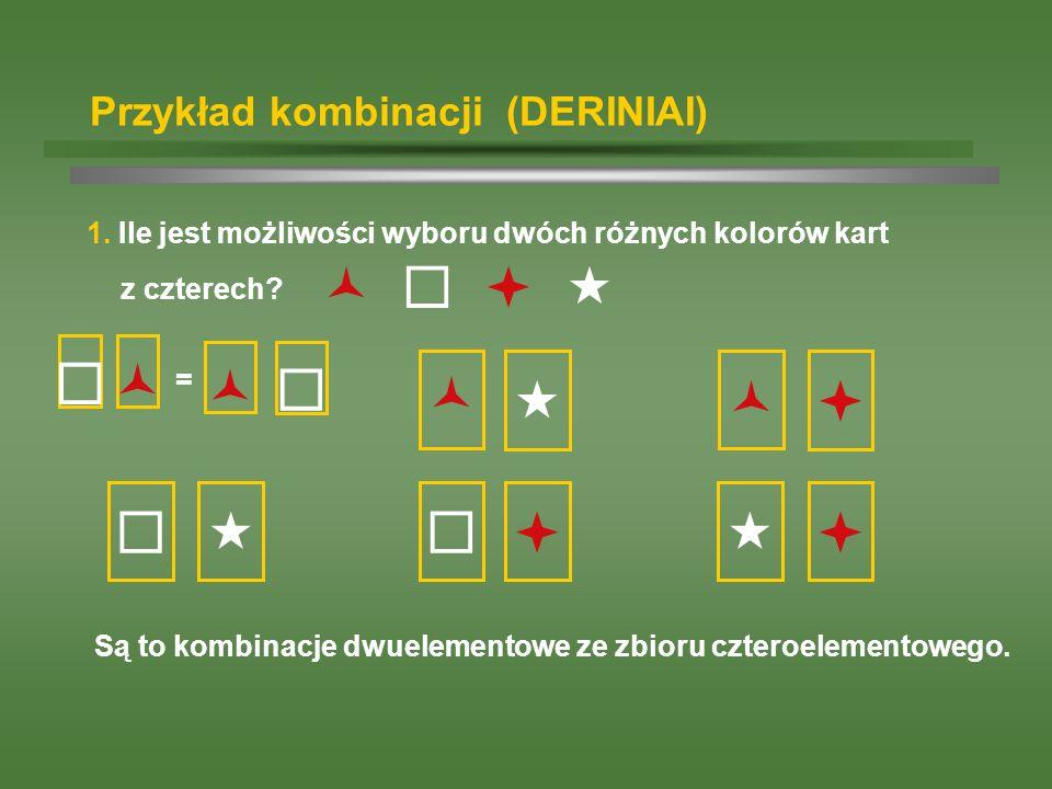 Przykład kombinacji (DERINIAI) 1. Ile jest możliwości wyboru dwóch różnych kolorów kart z czterech? Są to kombinacje dwuelementowe ze zbioru czteroele