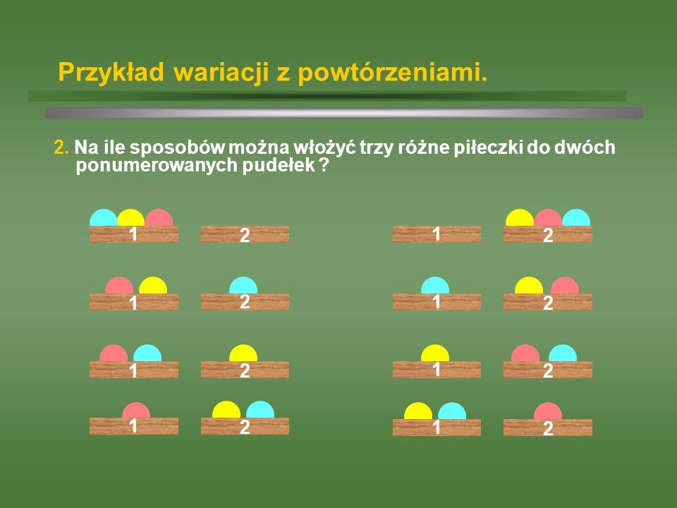 Przykład wariacji z powtórzeniami. 2. Na ile sposobów można włożyć trzy różne piłeczki do dwóch ponumerowanych pudełek ? 12 1 21 21 2 1 2 1 2 1 21 2