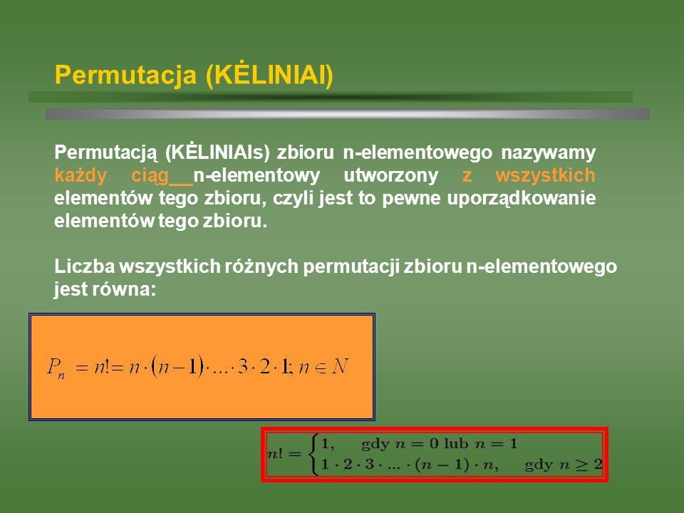 Permutacja (KĖLINIAI) Permutacją (KĖLINIAIs) zbioru n-elementowego nazywamy każdy ciąg n-elementowy utworzony z wszystkich elementów tego zbioru, czyl