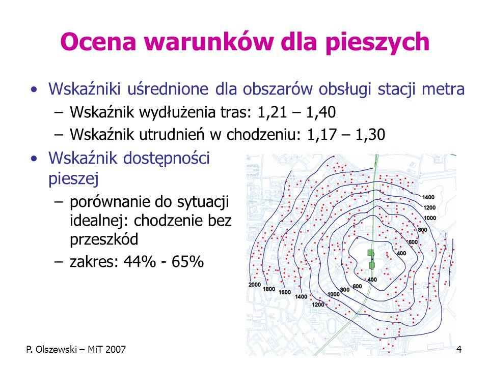 P. Olszewski – MiT 200714 Ocena warunków dla pieszych Wskaźniki uśrednione dla obszarów obsługi stacji metra –Wskaźnik wydłużenia tras: 1,21 – 1,40 –W