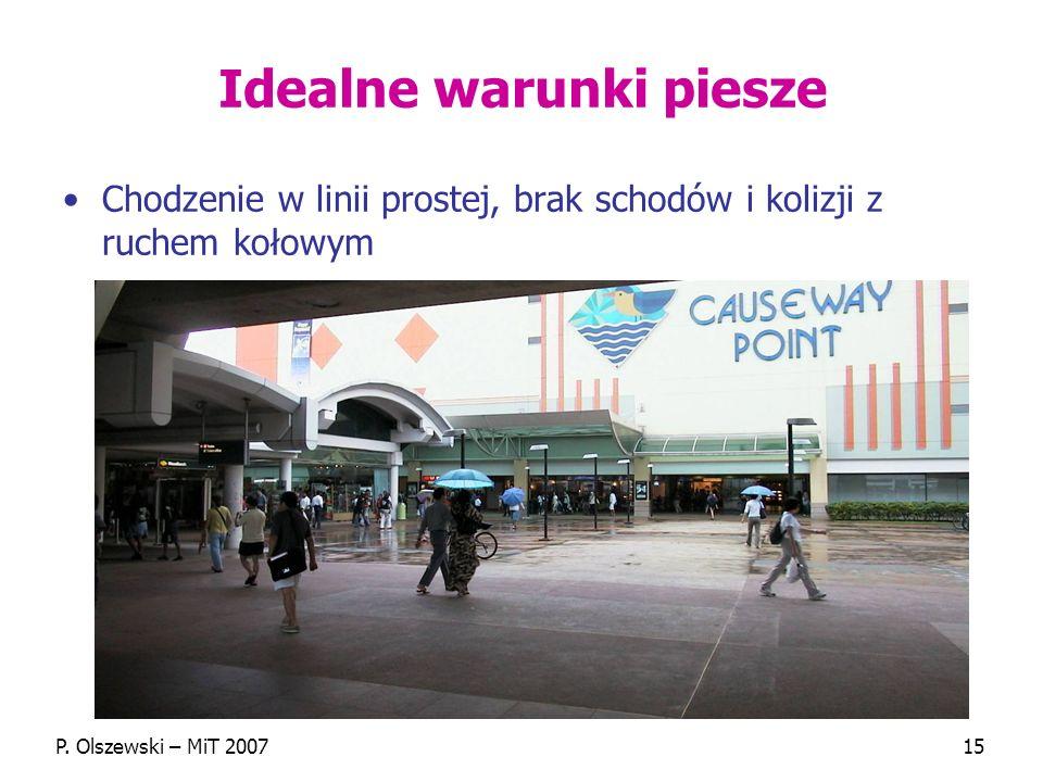 P. Olszewski – MiT 200715 Idealne warunki piesze Chodzenie w linii prostej, brak schodów i kolizji z ruchem kołowym