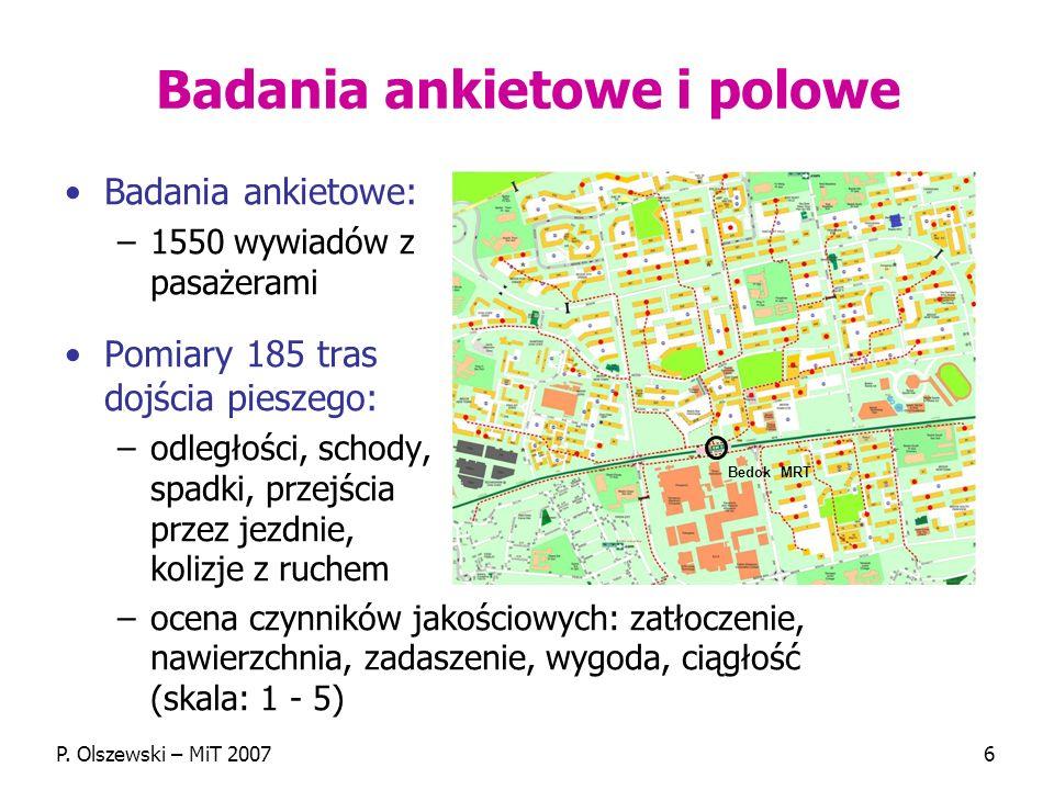 P. Olszewski – MiT 20076 Badania ankietowe i polowe Badania ankietowe: –1550 wywiadów z pasażerami Pomiary 185 tras dojścia pieszego: –odległości, sch