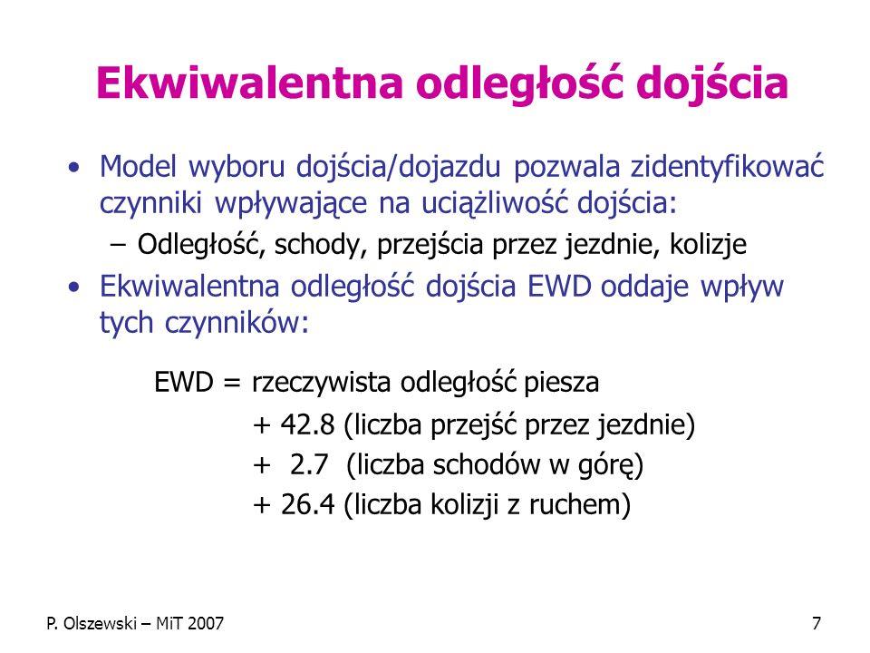 P. Olszewski – MiT 20077 Ekwiwalentna odległość dojścia Model wyboru dojścia/dojazdu pozwala zidentyfikować czynniki wpływające na uciążliwość dojścia