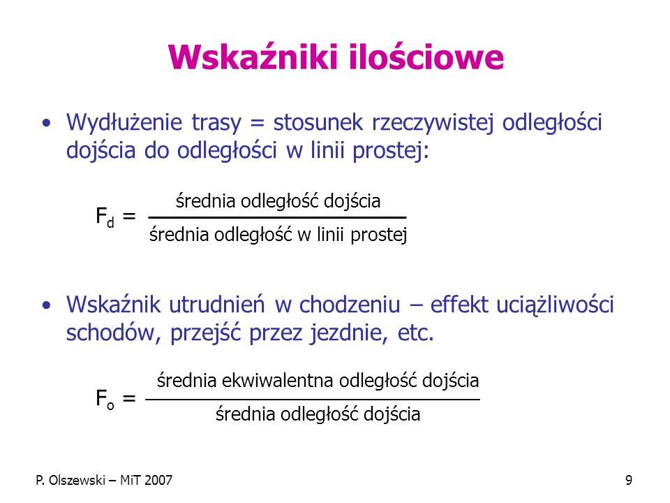 P. Olszewski – MiT 20079 Wskaźniki ilościowe Wydłużenie trasy = stosunek rzeczywistej odległości dojścia do odległości w linii prostej: F d = Wskaźnik