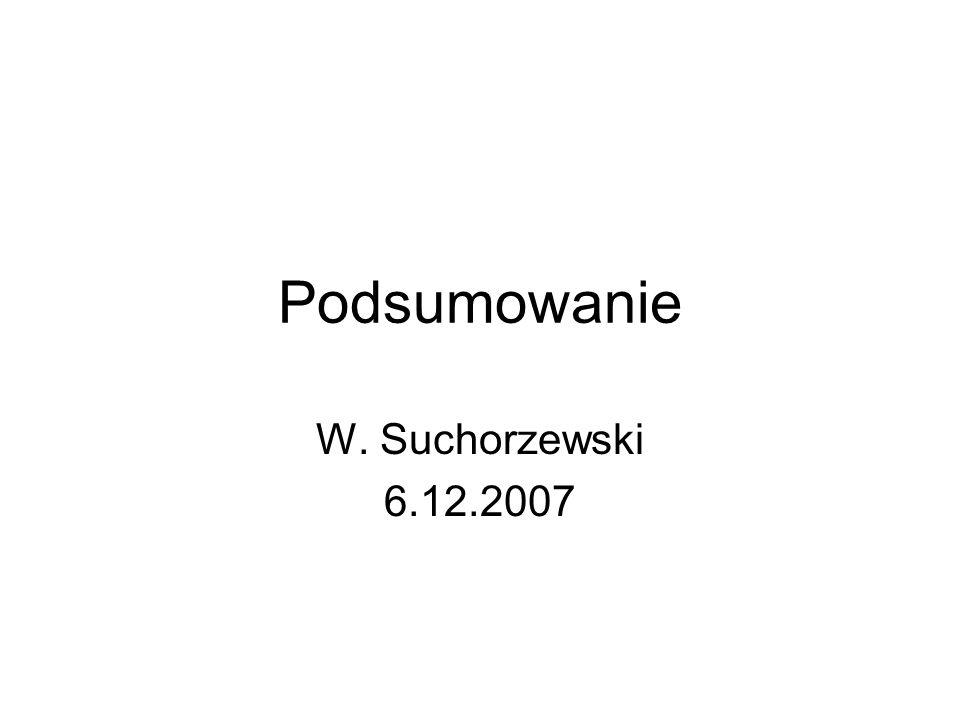 Podsumowanie W. Suchorzewski 6.12.2007