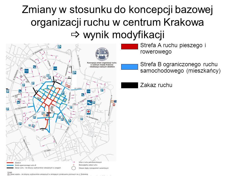Zmiany w stosunku do koncepcji bazowej organizacji ruchu w centrum Krakowa wynik modyfikacji Strefa A ruchu pieszego i rowerowego Strefa B ograniczone