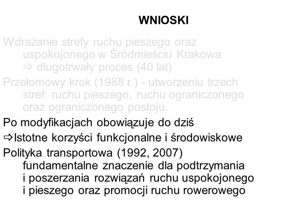 WNIOSKI Wdrażanie strefy ruchu pieszego oraz uspokojonego w Śródmieściu Krakowa długotrwały proces (40 lat) Przełomowy krok (1988 r.) - utworzeniu trz
