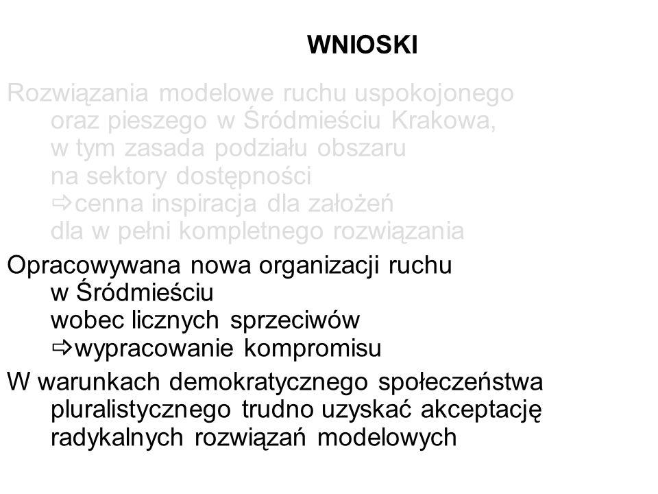 WNIOSKI Rozwiązania modelowe ruchu uspokojonego oraz pieszego w Śródmieściu Krakowa, w tym zasada podziału obszaru na sektory dostępności cenna inspir