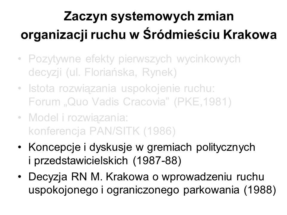 Zaczyn systemowych zmian organizacji ruchu w Śródmieściu Krakowa Pozytywne efekty pierwszych wycinkowych decyzji (ul. Floriańska, Rynek) Istota rozwią