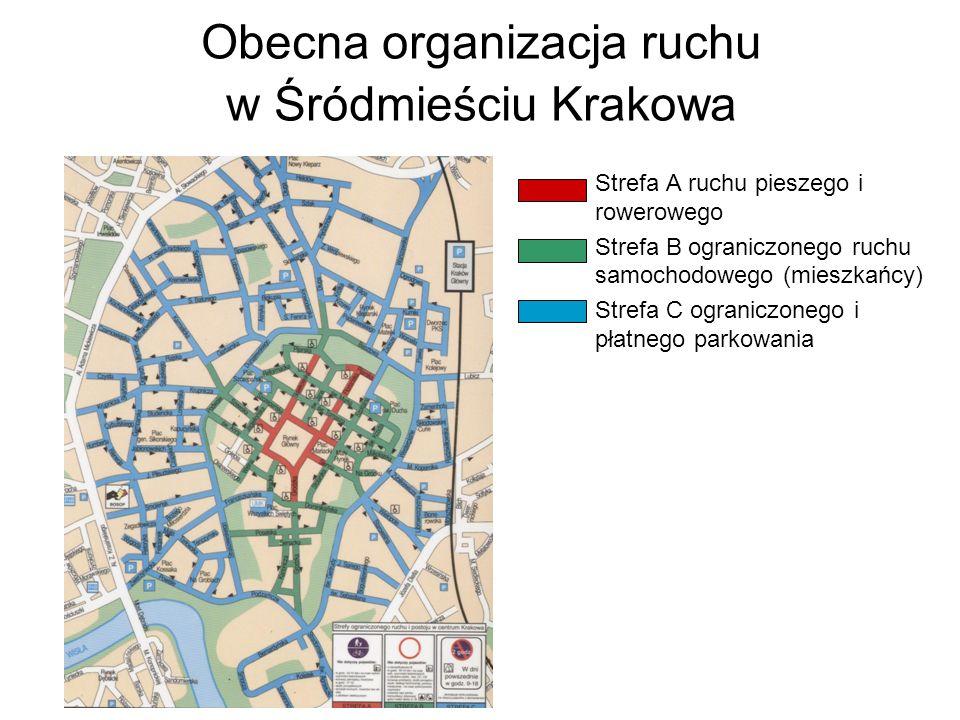 Obecna organizacja ruchu w Śródmieściu Krakowa Strefa A ruchu pieszego i rowerowego Strefa B ograniczonego ruchu samochodowego (mieszkańcy) Strefa C o