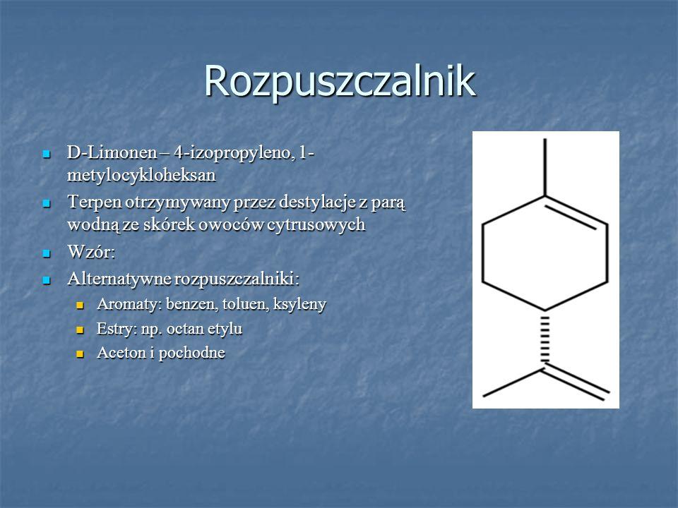 Rozpuszczalnik D-Limonen – 4-izopropyleno, 1- metylocykloheksan D-Limonen – 4-izopropyleno, 1- metylocykloheksan Terpen otrzymywany przez destylacje z