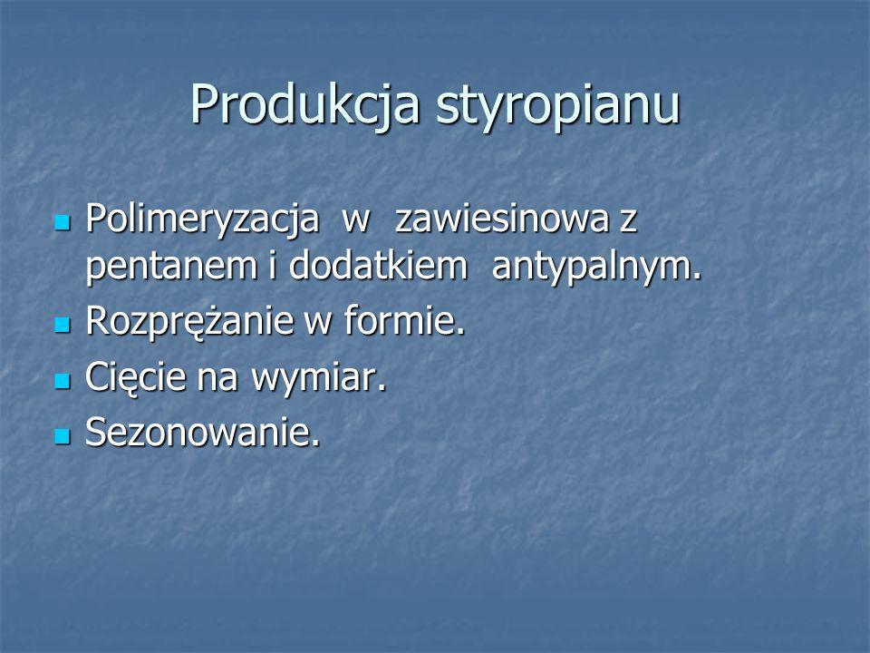 Produkcja styropianu Polimeryzacja w zawiesinowa z pentanem i dodatkiem antypalnym. Polimeryzacja w zawiesinowa z pentanem i dodatkiem antypalnym. Roz