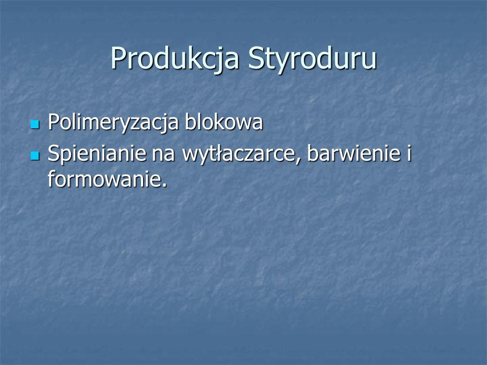Produkcja Styroduru Polimeryzacja blokowa Polimeryzacja blokowa Spienianie na wytłaczarce, barwienie i formowanie. Spienianie na wytłaczarce, barwieni