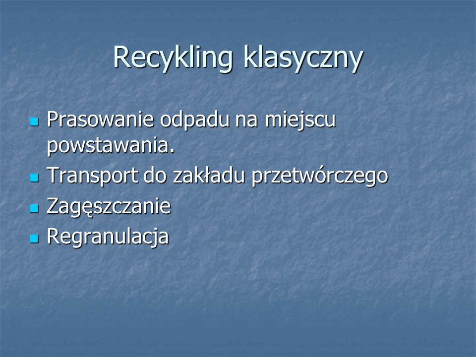Recykling klasyczny Prasowanie odpadu na miejscu powstawania. Prasowanie odpadu na miejscu powstawania. Transport do zakładu przetwórczego Transport d
