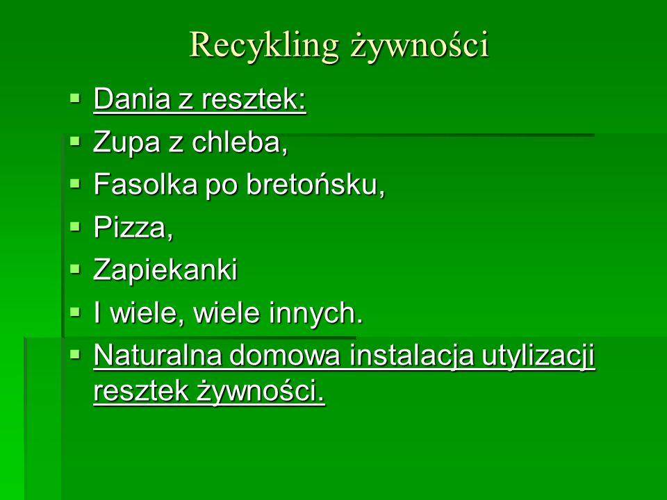 Recykling żywności Dania z resztek: Dania z resztek: Zupa z chleba, Zupa z chleba, Fasolka po bretońsku, Fasolka po bretońsku, Pizza, Pizza, Zapiekank