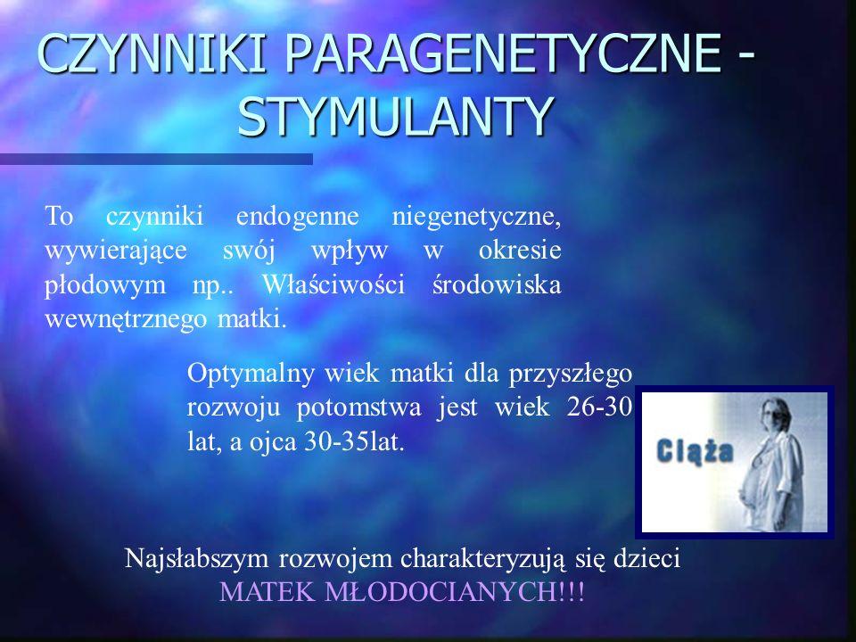 CZYNNIKI PARAGENETYCZNE - STYMULANTY To czynniki endogenne niegenetyczne, wywierające swój wpływ w okresie płodowym np.. Właściwości środowiska wewnęt