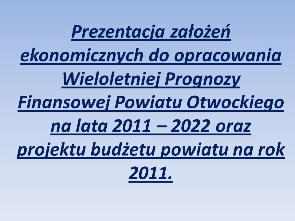 Prezentacja założeń ekonomicznych do opracowania Wieloletniej Prognozy Finansowej Powiatu Otwockiego na lata 2011 – 2022 oraz projektu budżetu powiatu na rok 2011.