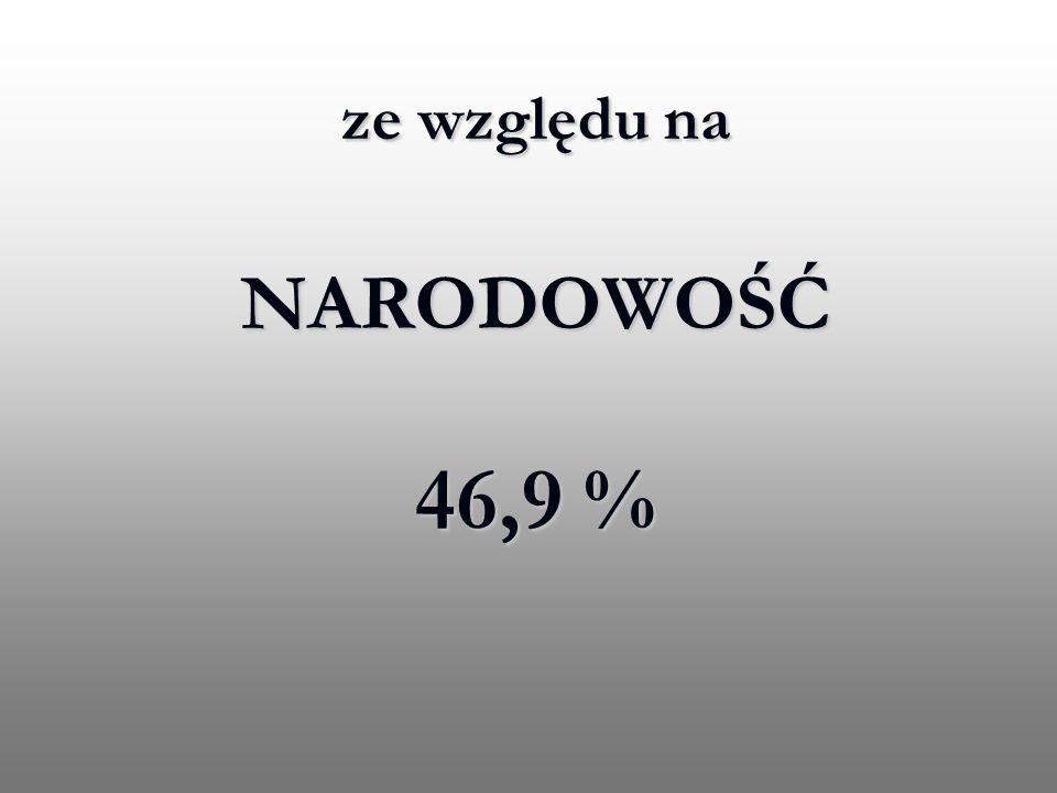 ze względu na NARODOWOŚĆ 46,9 % ze względu na NARODOWOŚĆ 46,9 %