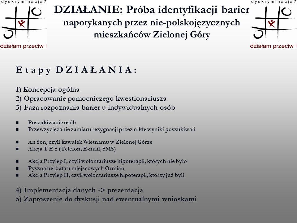 DZIAŁANIE: Próba identyfikacji barier napotykanych przez nie-polskojęzycznych mieszkańców Zielonej Góry E t a p y D Z I A Ł A N I A : 1) Koncepcja ogó