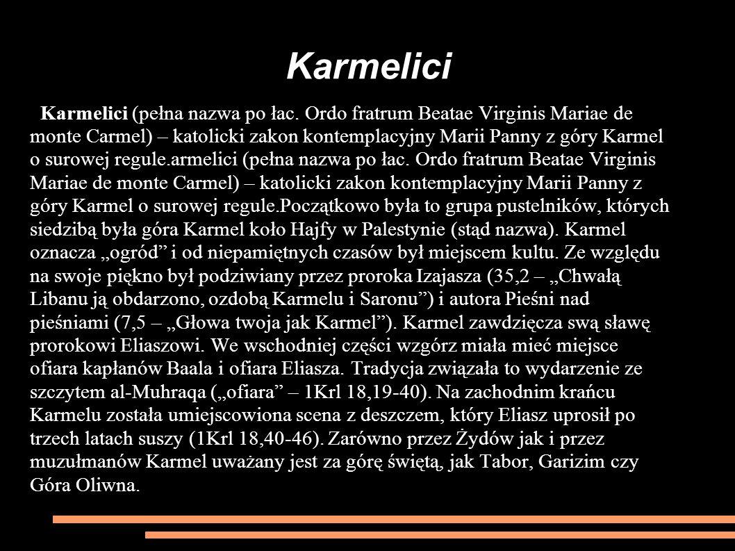 Karmelici Karmelici (pełna nazwa po łac. Ordo fratrum Beatae Virginis Mariae de monte Carmel) – katolicki zakon kontemplacyjny Marii Panny z góry Karm