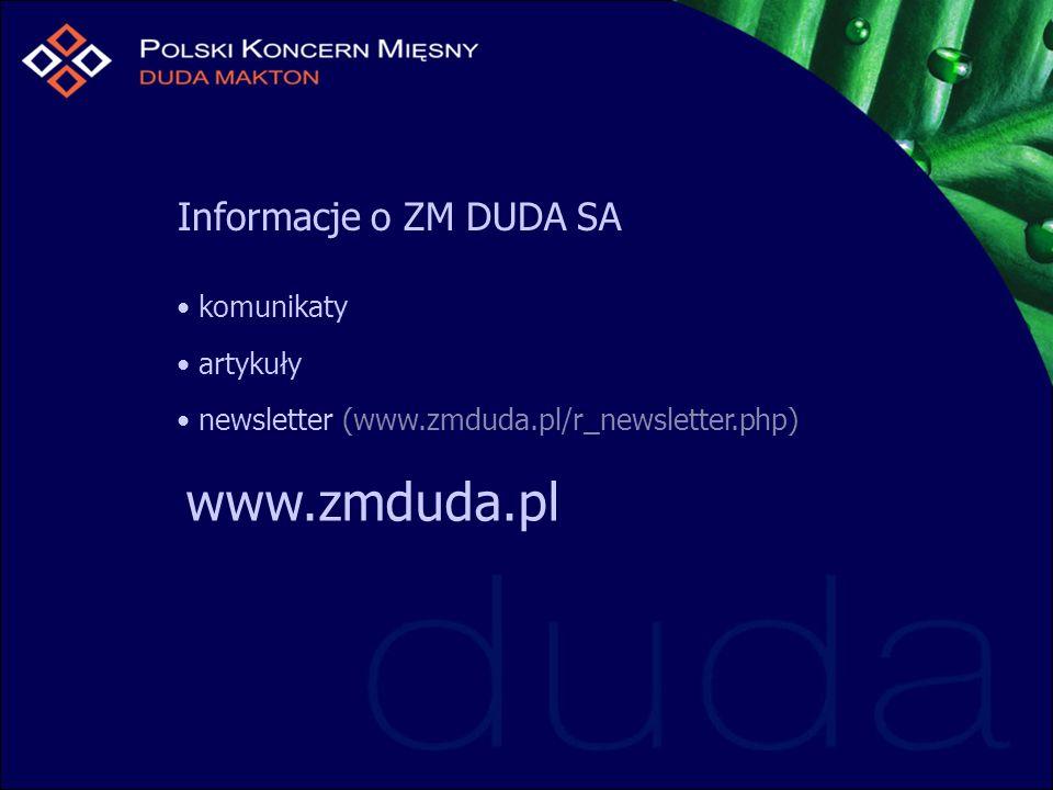Informacje o ZM DUDA SA komunikaty artykuły newsletter (www.zmduda.pl/r_newsletter.php) www.zmduda.pl