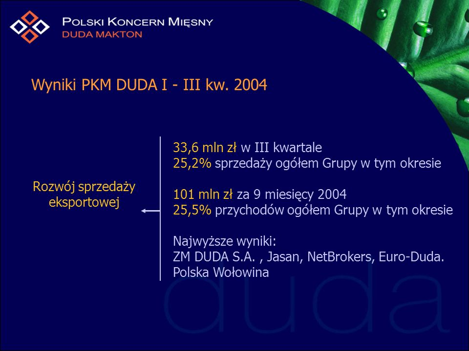 33,6 mln zł w III kwartale 25,2% sprzedaży ogółem Grupy w tym okresie 101 mln zł za 9 miesięcy 2004 25,5% przychodów ogółem Grupy w tym okresie Najwyższe wyniki: ZM DUDA S.A., Jasan, NetBrokers, Euro-Duda.