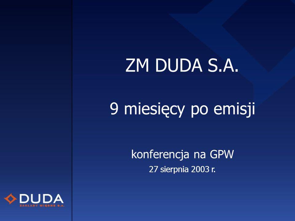 ZM DUDA S.A. 9 miesięcy po emisji konferencja na GPW 27 sierpnia 2003 r.