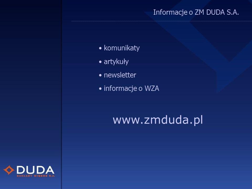 Informacje o ZM DUDA S.A. komunikaty artykuły newsletter informacje o WZA www.zmduda.pl