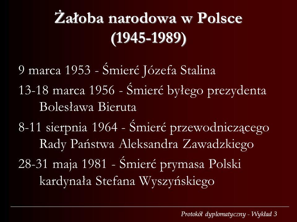 Protokół dyplomatyczny - Wykład 3 Żałoba narodowa w Polsce (1945-1989) 9 marca 1953 - Śmierć Józefa Stalina 13-18 marca 1956 - Śmierć byłego prezydent