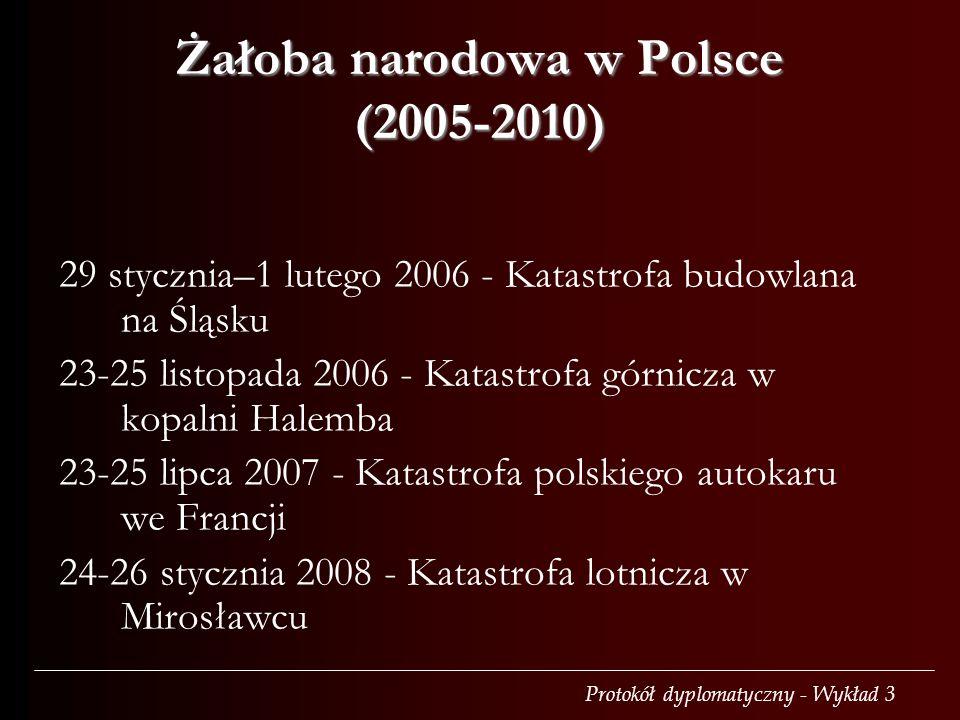 Protokół dyplomatyczny - Wykład 3 Żałoba narodowa w Polsce (2005-2010) 29 stycznia–1 lutego 2006 - Katastrofa budowlana na Śląsku 23-25 listopada 2006