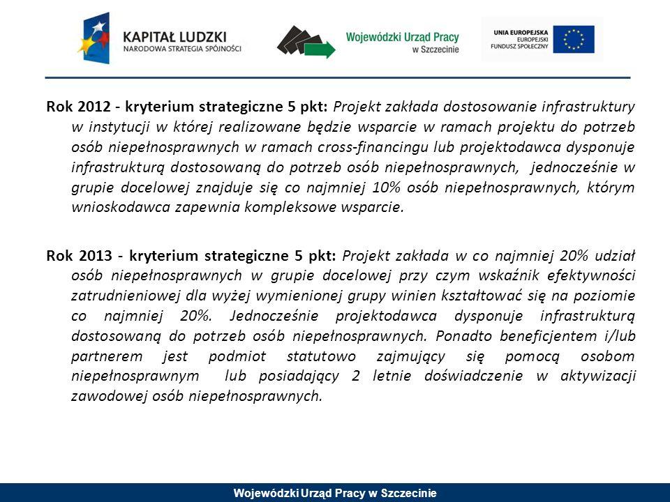 Wojewódzki Urząd Pracy w Szczecinie Rok 2012 - kryterium strategiczne 5 pkt: Projekt zakłada dostosowanie infrastruktury w instytucji w której realizowane będzie wsparcie w ramach projektu do potrzeb osób niepełnosprawnych w ramach cross-financingu lub projektodawca dysponuje infrastrukturą dostosowaną do potrzeb osób niepełnosprawnych, jednocześnie w grupie docelowej znajduje się co najmniej 10% osób niepełnosprawnych, którym wnioskodawca zapewnia kompleksowe wsparcie.