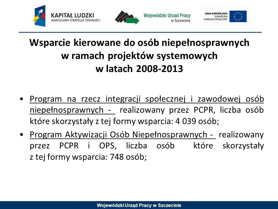 Wojewódzki Urząd Pracy w Szczecinie Wsparcie kierowane do osób niepełnosprawnych w ramach projektów systemowych w latach 2008-2013 Program na rzecz integracji społecznej i zawodowej osób niepełnosprawnych - realizowany przez PCPR, liczba osób które skorzystały z tej formy wsparcia: 4 039 osób; Program Aktywizacji Osób Niepełnosprawnych - realizowany przez PCPR i OPS, liczba osób które skorzystały z tej formy wsparcia: 748 osób;