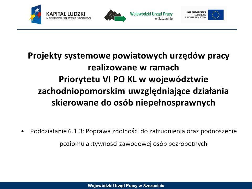 Wojewódzki Urząd Pracy w Szczecinie Projekty systemowe powiatowych urzędów pracy realizowane w ramach Priorytetu VI PO KL w województwie zachodniopomorskim uwzględniające działania skierowane do osób niepełnosprawnych Poddziałanie 6.1.3: Poprawa zdolności do zatrudnienia oraz podnoszenie poziomu aktywności zawodowej osób bezrobotnych