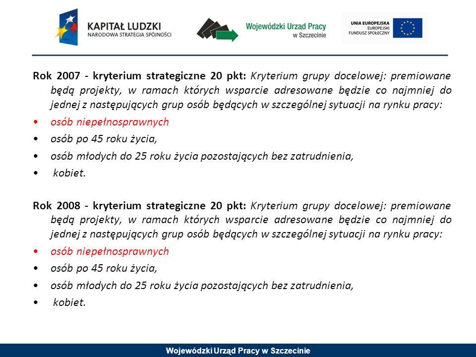 Wojewódzki Urząd Pracy w Szczecinie Rok 2009 - kryterium strategiczne 5 pkt: Grupę docelową w projekcie, w co najmniej 30%, stanowią osoby niepełnosprawne.
