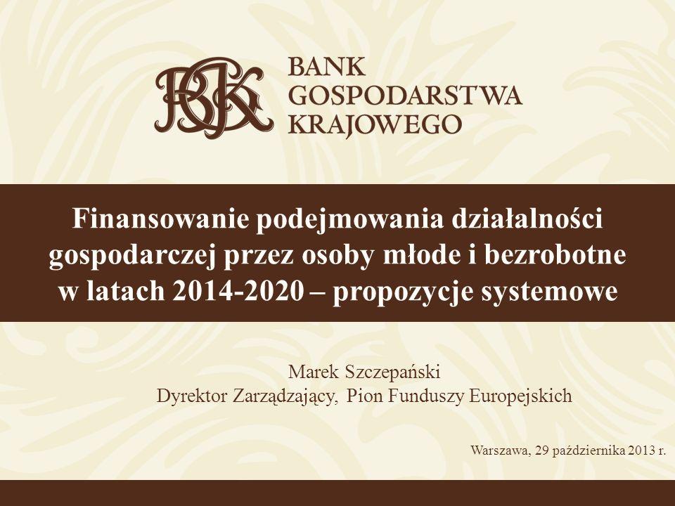 Propozycje systemowe (2) Stworzenie – w formule funduszu funduszy (zgodnie z projektami: rozporządzenia ogólnego – Common Provision Regulation, CPR oraz ustawy o realizacji programów operacyjnych polityki spójności finansowanych w perspektywie finansowej 2014- 2020) – dwóch ogólnopolskich schematów wsparcia: 1)W ramach RPO (z wykorzystaniem środków z EFS) skierowanego do osób bezrobotnych powyżej 24 roku życia oraz studentów ostatnich lat studiów wyższych (środki dla każdego RPO byłyby wyodrębnione) 2)W ramach PO WER (z wykorzystaniem środków EFS oraz dodatkowych środków UE w ramach programu gwarancji dla młodzieży) skierowanego dla osób do 24 roku życia (realizacja programu gwarancji dla młodzieży) Ujednolicenie warunków udzielania pożyczek (wyeliminowanie sytuacji, w ramach której osobom z różnych regionów Polski udzielane byłyby pożyczki na różnych warunkach) – według warunków określonych w nowelizowanej ustawie o promocji zatrudnienia i instytucjach rynku pracy (okres kredytowania do 7 lat, wysokość wsparcia do 20-krotności przeciętnego wynagrodzenia – obecnie ok.