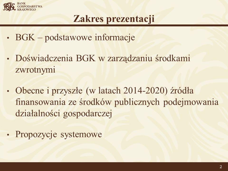 Zakres prezentacji BGK – podstawowe informacje Doświadczenia BGK w zarządzaniu środkami zwrotnymi Obecne i przyszłe (w latach 2014-2020) źródła finans