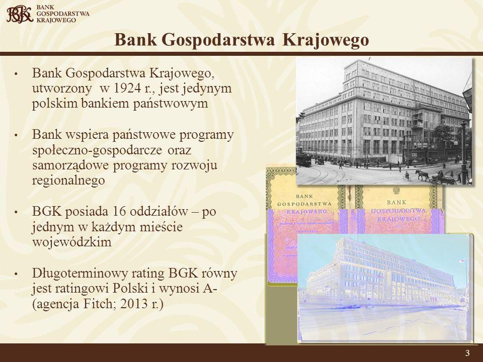 Bank Gospodarstwa Krajowego Bank Gospodarstwa Krajowego, utworzony w 1924 r., jest jedynym polskim bankiem państwowym Bank wspiera państwowe programy