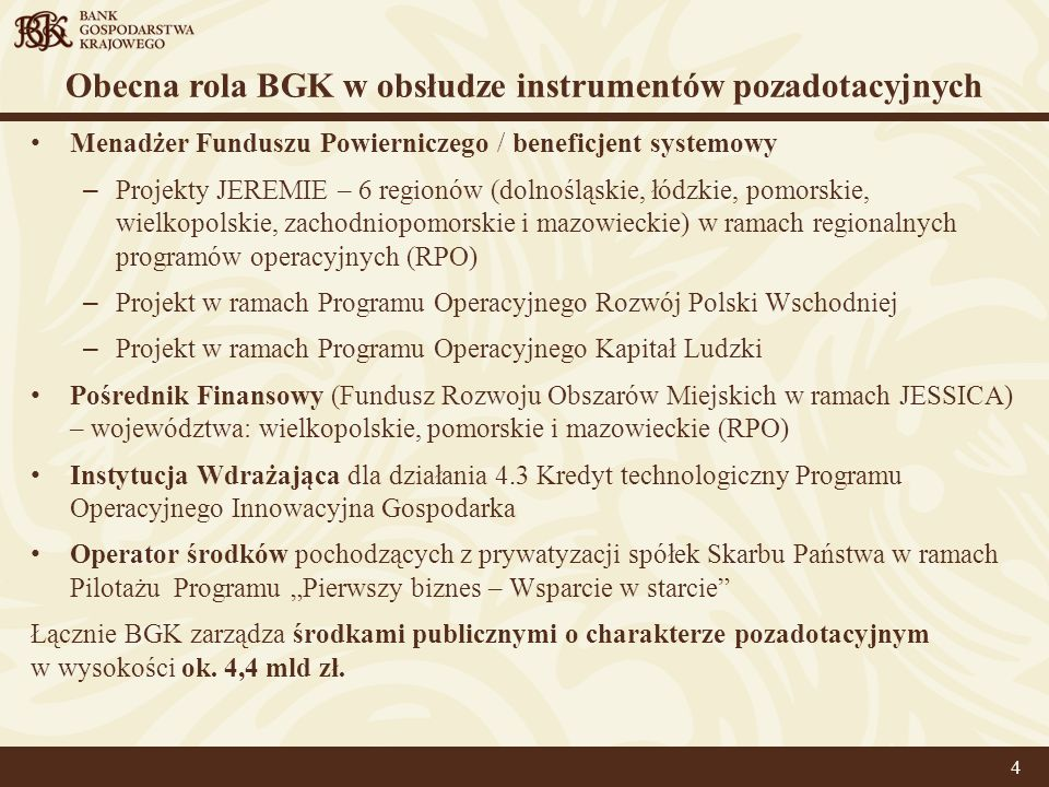 Obecna rola BGK w obsłudze instrumentów pozadotacyjnych Menadżer Funduszu Powierniczego / beneficjent systemowy – Projekty JEREMIE – 6 regionów (dolno