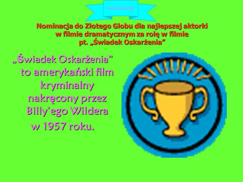 Nominacja do Złotego Globu dla najlepszej aktorki w filmie dramatycznym za rolę w filmie pt.