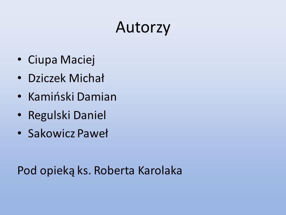Autorzy Ciupa Maciej Dziczek Michał Kamiński Damian Regulski Daniel Sakowicz Paweł Pod opieką ks. Roberta Karolaka
