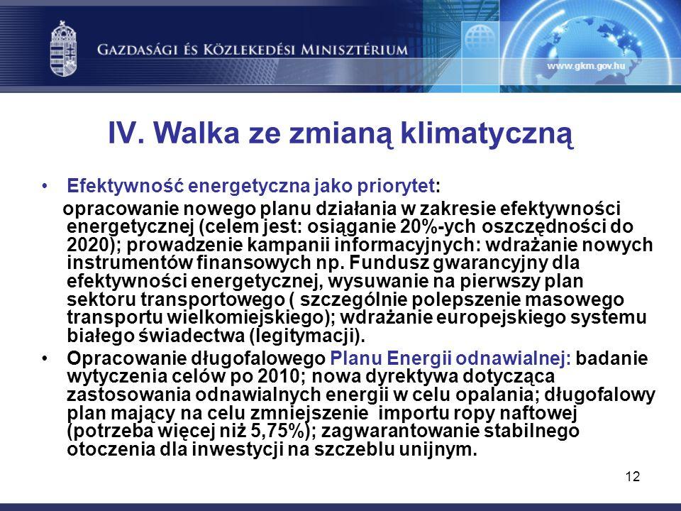 12 IV. Walka ze zmianą klimatyczną Efektywność energetyczna jako priorytet: opracowanie nowego planu działania w zakresie efektywności energetycznej (