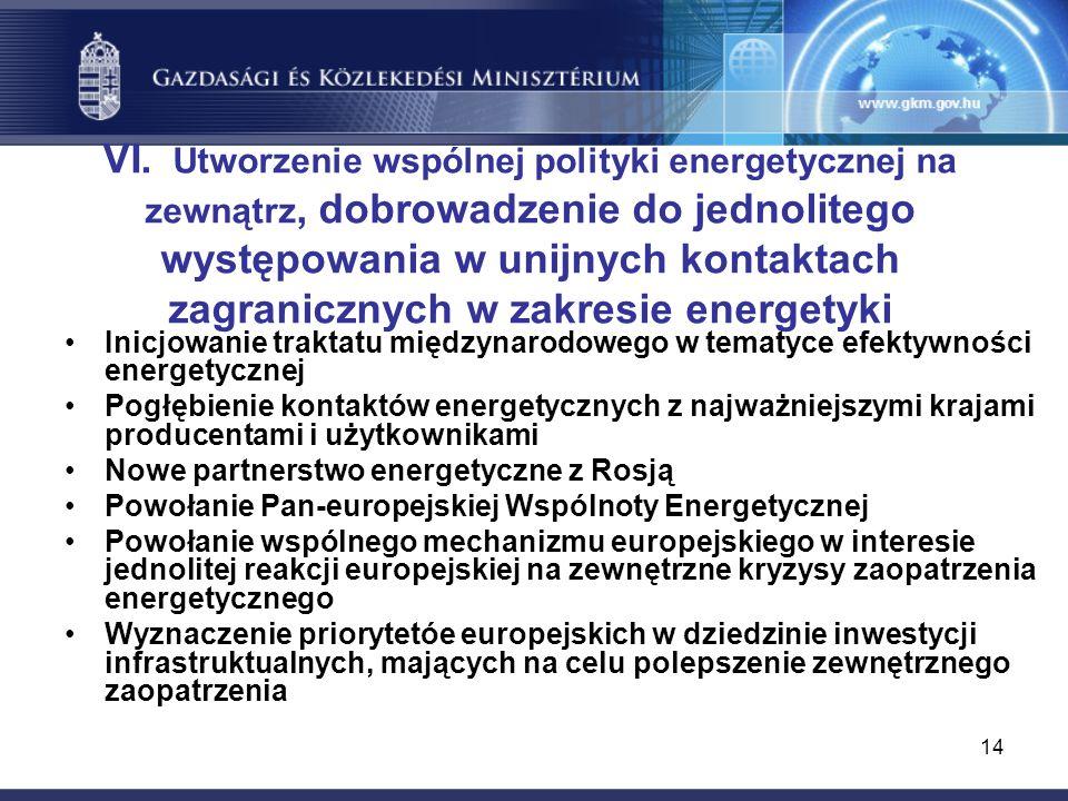 14 VI. Utworzenie wspólnej polityki energetycznej na zewnątrz, dobrowadzenie do jednolitego występowania w unijnych kontaktach zagranicznych w zakresi